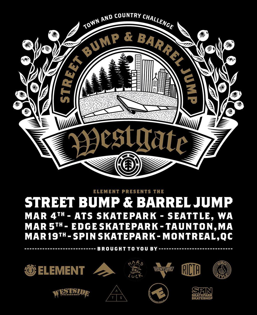 the @westgatebrandon #elementbarreljump continues this week in Seattle at @alltogetherskatepark and New England at @theedgeindoorskatepark >>> Brandon and @donnybarley will be out at the Edge event >>> #NoStruggleNoProgress