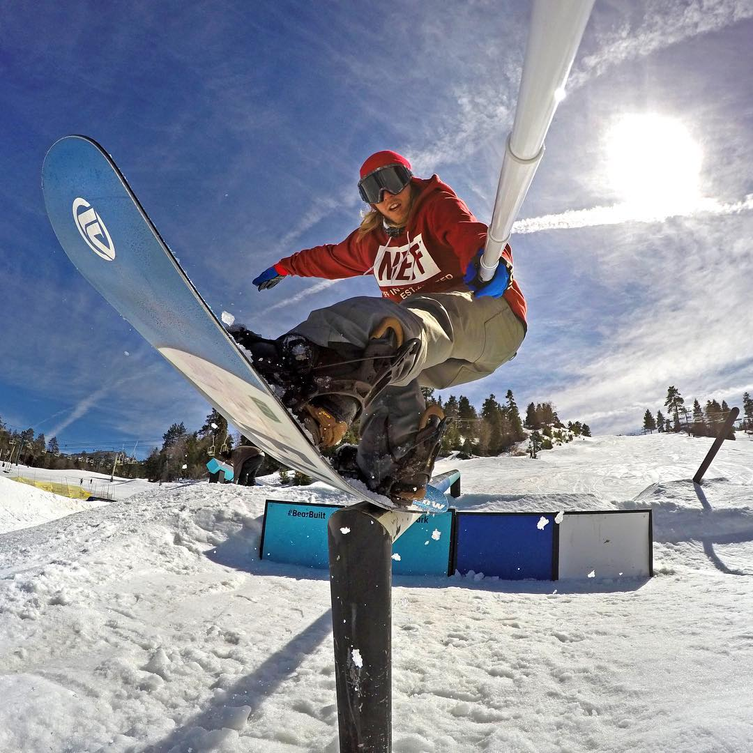 @timhumphreys pressing one out in the GoPro Park at @bear_mountain. GoPro HERO4 | GoPole Reach #gopro #gopole #gopolereach #snowboarding #bearmountain @flowsnowboardn