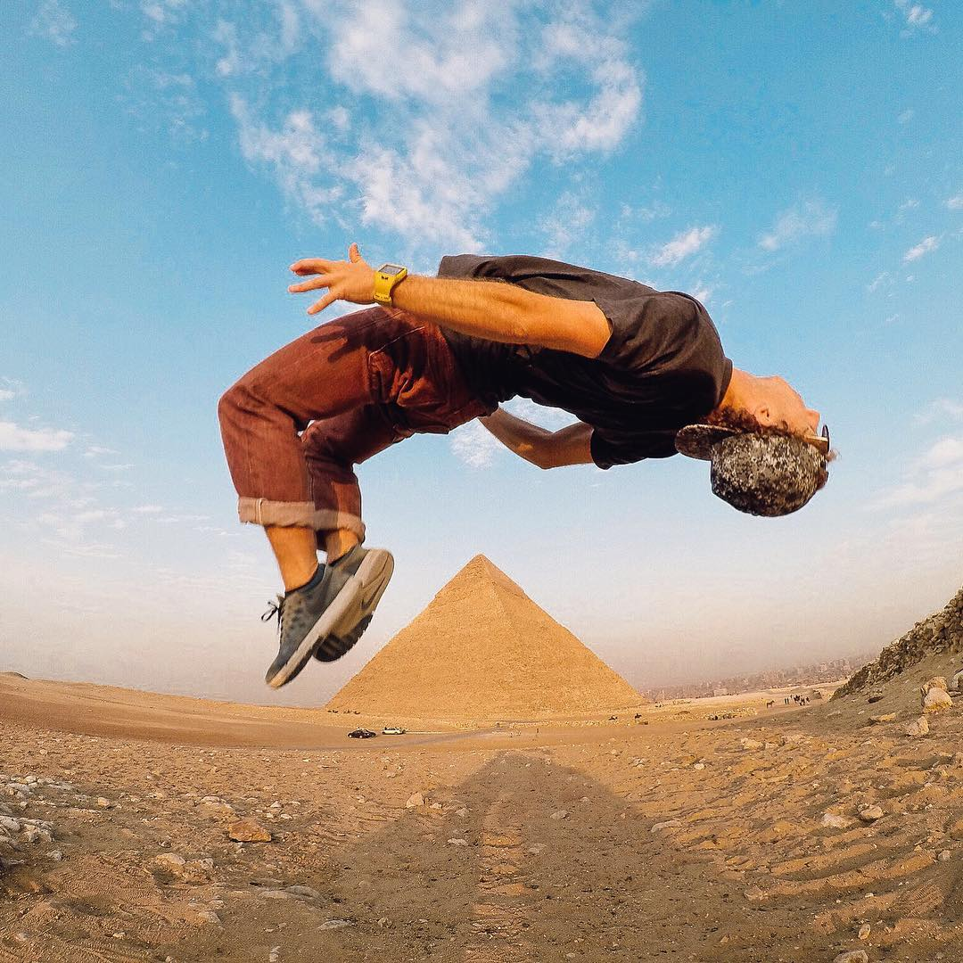 Photo of the Day! After a long journey, reaching the #pyramidofgiza has @jeremy_bishhh flipping out! What a sick angle, Jeremy. Great work. Share your best with us via link in our bio. #GoPro #GoProTravel