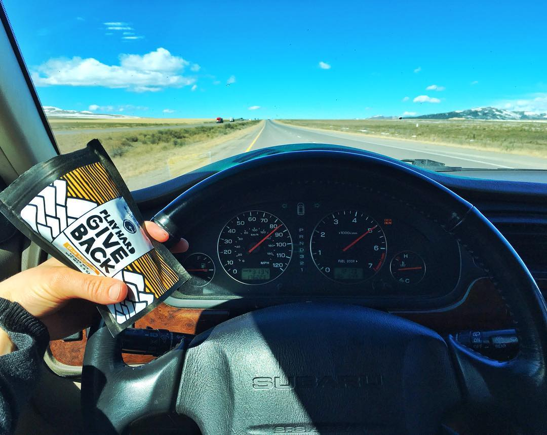 @mck_p cruising on the road with some PlayHard GiveBack trail mix. Check our link in bio to read a TGR piece she wrote on climate change!