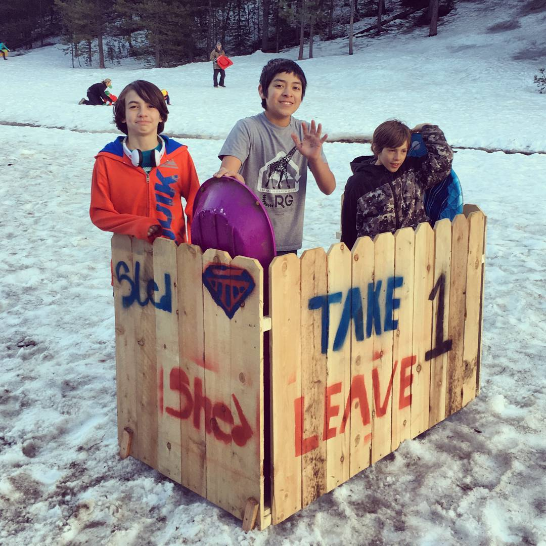 "Check out this ""Sled Shed"" our #Truckee youth created! Donated sleds can now be reused and stored at their local hill, reducing waste and enabling all to have a good time."