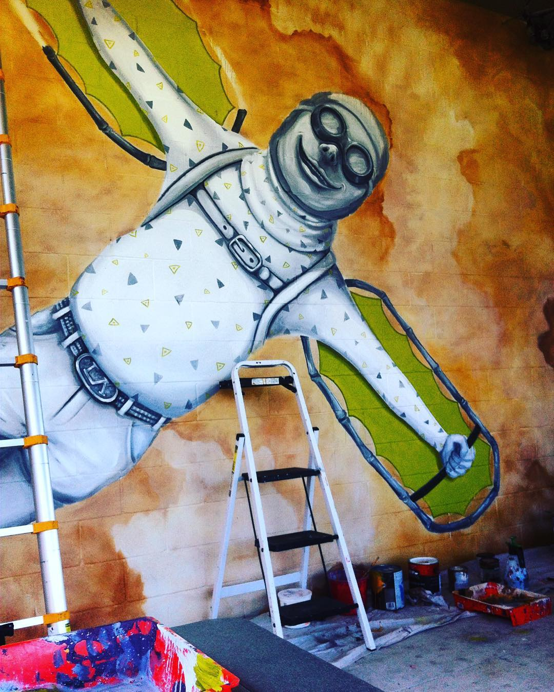 @lucasaokiart in progress. • • For @zilkronthepark • • #atx #austintx #texas #tx #austinliving #beergarden #art #mural #lucasaoki #spratx #spratxfamily