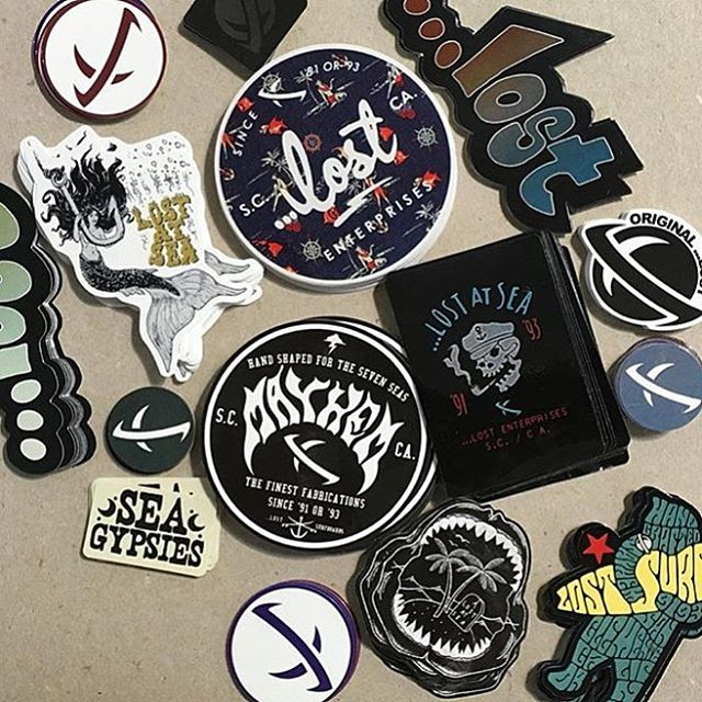 New ...Lost stickers in a batch just waiting to be peeled back. #lostclothing #lostsurfboards #LostAtSeaSince93