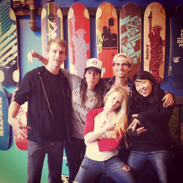 #BroadwayBomb we're ready! Hanging out in #NYC at the @bustinboards shop with @emgeemann from @gformprotects, @cindyzskates, @pushculture 's @longboardlady & @traviswsoul & @valeriakechichian. Now heading to the Longboard Loft where #LGCOpen screening...