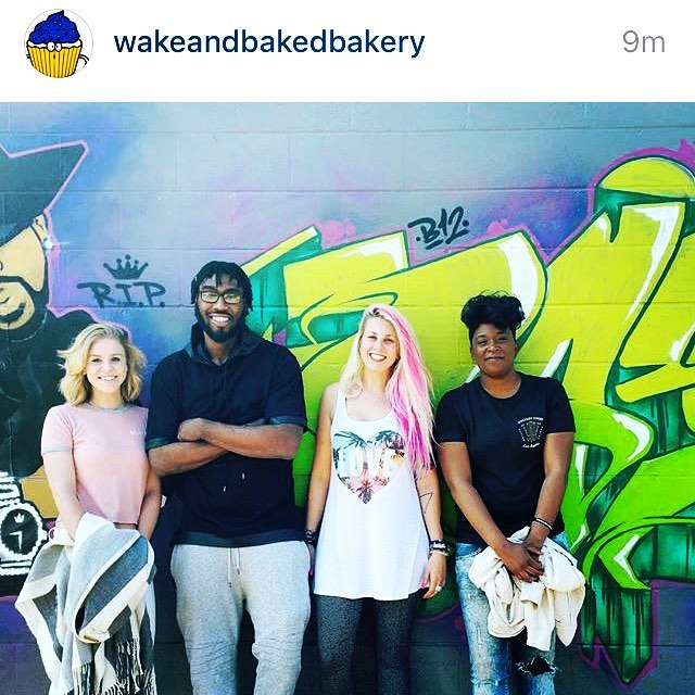 Huge thanks to @wakeandbakedbakery for stopping in and hanging at the office today!  @zuzubee let us all try the deliciousness you brought!