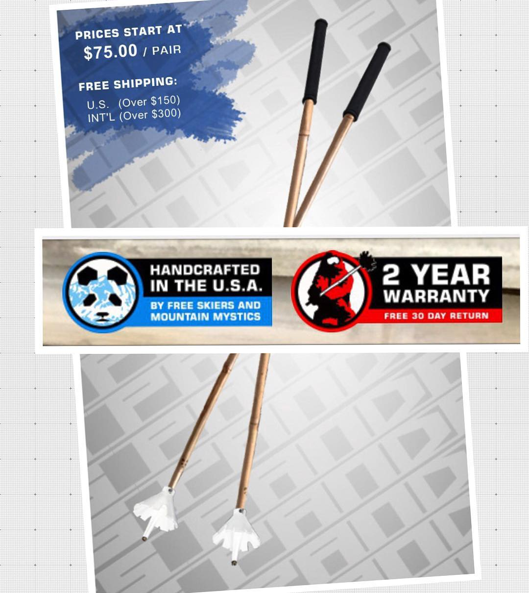 In case you hadn't noticed, Panda Poles now start at only $75! Whaaaaa?!!! And with the promo code TRIBE UP you can grab a pair of Magic Ski Wands for as low as only $60!  Oh yeah, and we now offer a 2 YEAR WARRANTY... BOOM! Magic!  #TribeUP at...