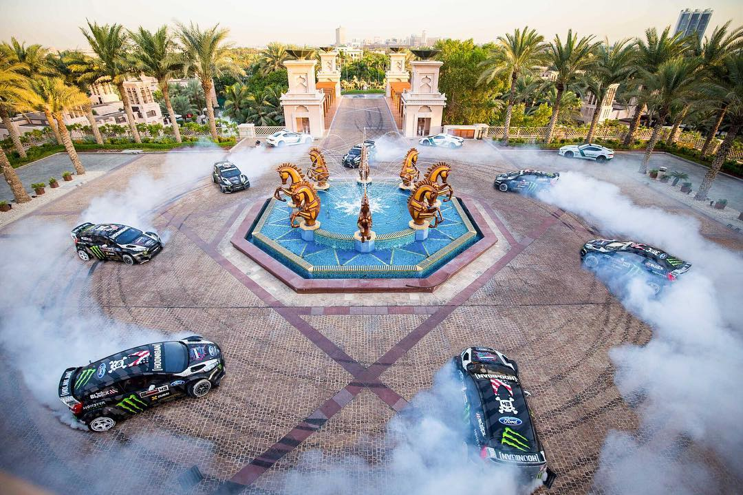 The Head Hoonigan In Charge, @kblock43, adding some, uhh, art work to the Al Qasr hotel in Dubai. #GymkhanaEIGHT: hit the link in our bio to watch it.