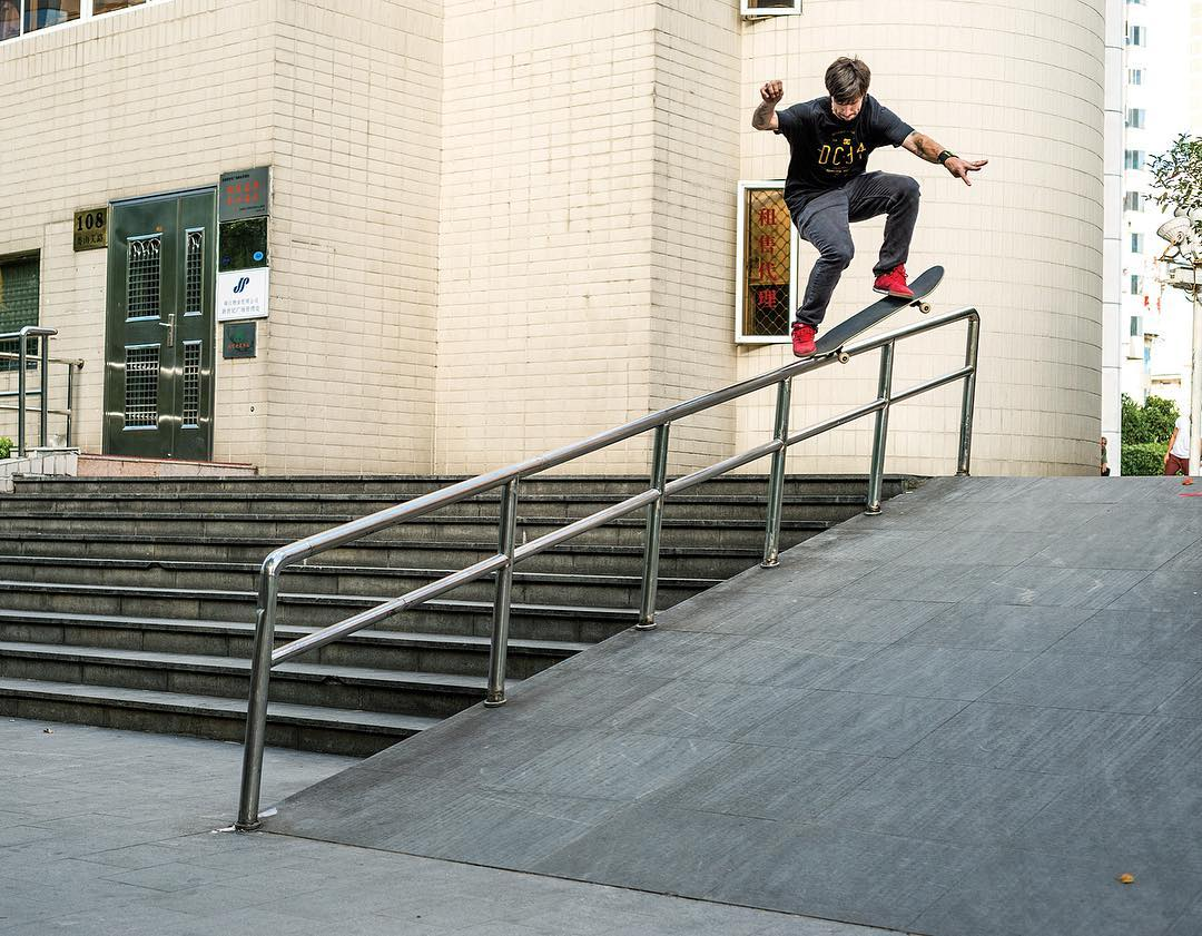 #TBT @chriscobracole, fakie 5-0 transfer in China while filming for his #ColeLite2 video part. Photo: @blabacphoto #ChrisCole #DCShoes