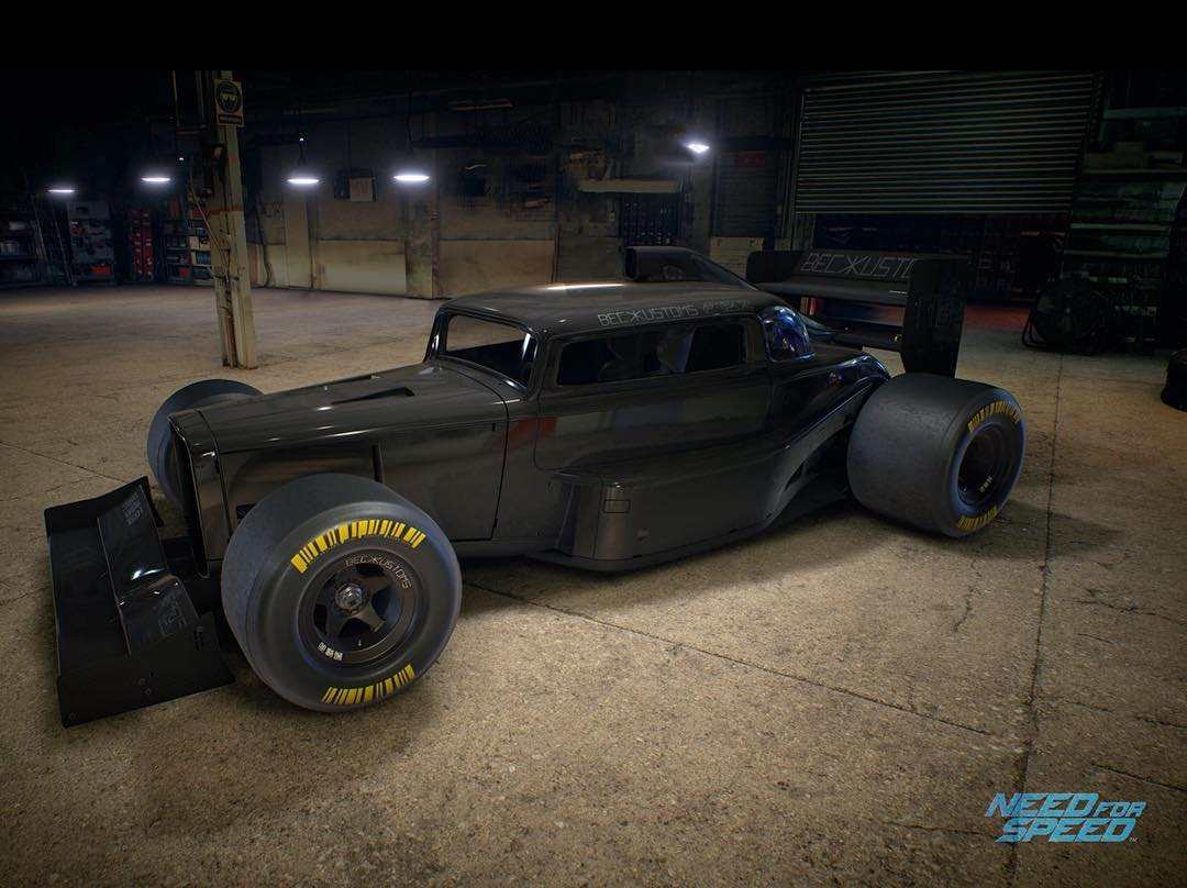 My friend/wild designer @_aaron_beck illustrated this beauty a while ago: it's based off of a '32 Ford, mixed with some Formula 1 car elements. And it's now available in @NeedForSpeed! Awesome. It's called the F132, I believe it just got released...