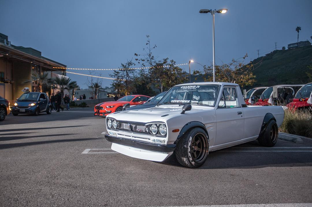 Our #GymkhanaEIGHT world premiere party rounded up some dope cars. As always, one of our favorites was @chasingjs Hakotora. Who wants to see @dnicle come down to the #donutgarage and rip some burnouts?
