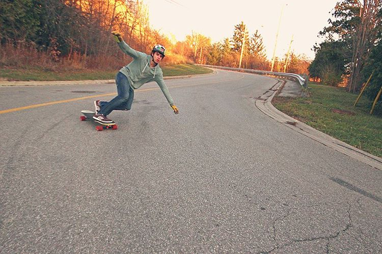 Andrew Flanagan (@o_flanagan) out for a rip in Toronto on the Keystone. (Photo by @j_shoom) #dbkeystone #dblongboards #longboard #longboarding #downhillskateboarding