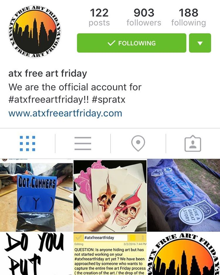 Here @atxfaf_official is were you want to go if you are playing #atxfreeartfriday today!! • • The new Instagram to follow along for all things free art! • • #atx #austintx #texas #tx #spratx
