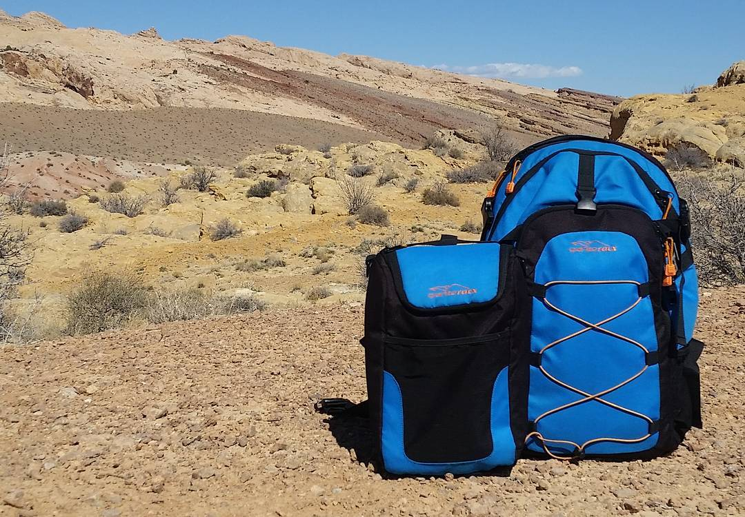 Our Cascade pack and cooler at San Rafael Reef.  Pretty spectacular day to be out and about! #getoutside #utah #sanrafaelreef #whatsyour20 #backpacks #coolers #graniterocx #outdoorsrocx