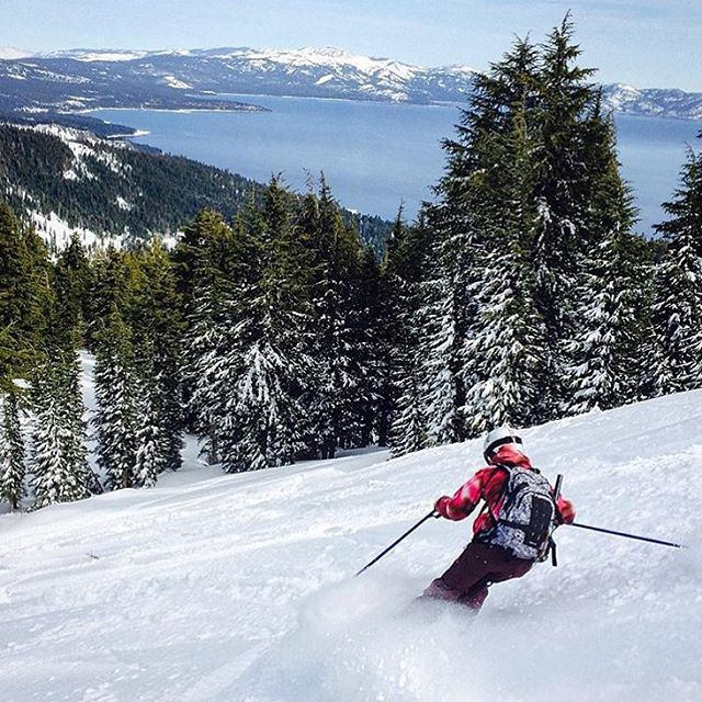 COO @nosnowsnakes doesn't mind looking at #laketahoe while she cat skis at @skihomewood.  Speaking of which, tag #sheshredshewood in your lady ripper pictures for a chance to win some SOS skis and other cool prizes. You must be able to pick your skis...
