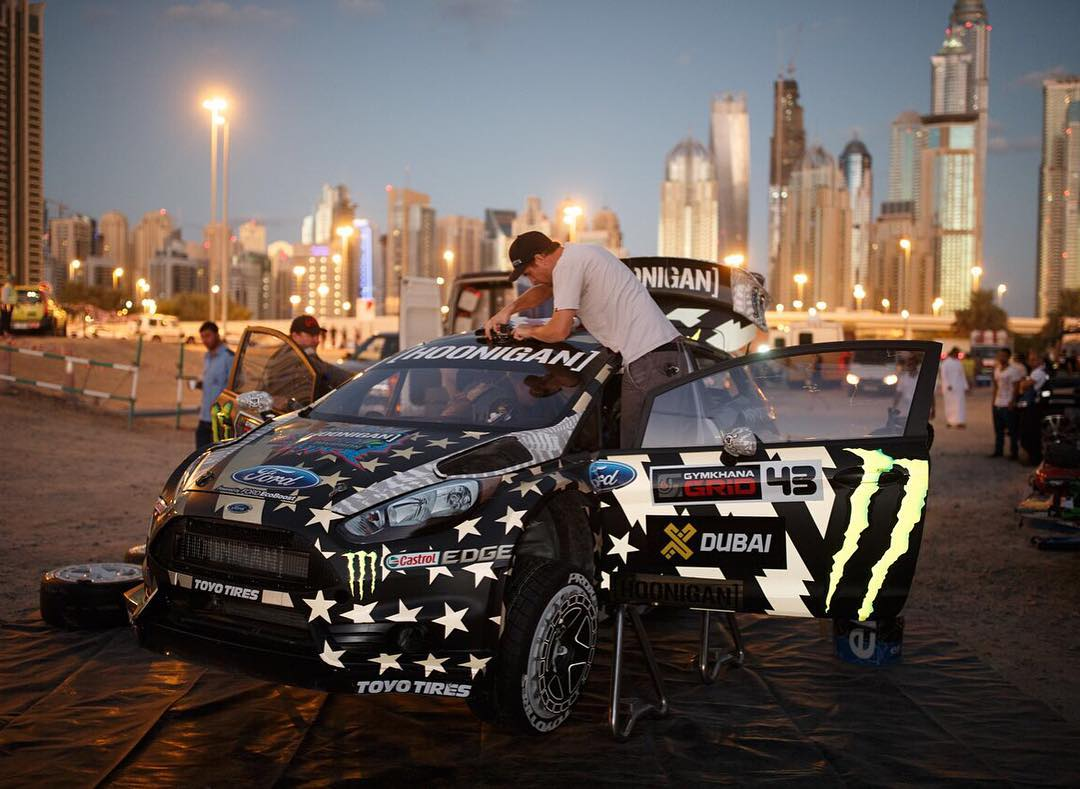 On the set of any Gymkhana video, pre-sunrise call times are the norm every day. At least it made for some dope reflective livery photos!