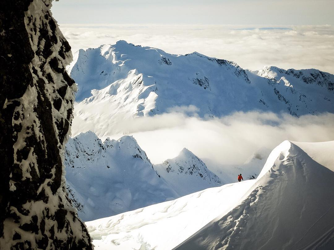 Some lines are worth the extra work.  @kyepetersen at work (and play) on the Tantalus Range in western BC with @pepfujas (who took the photo).