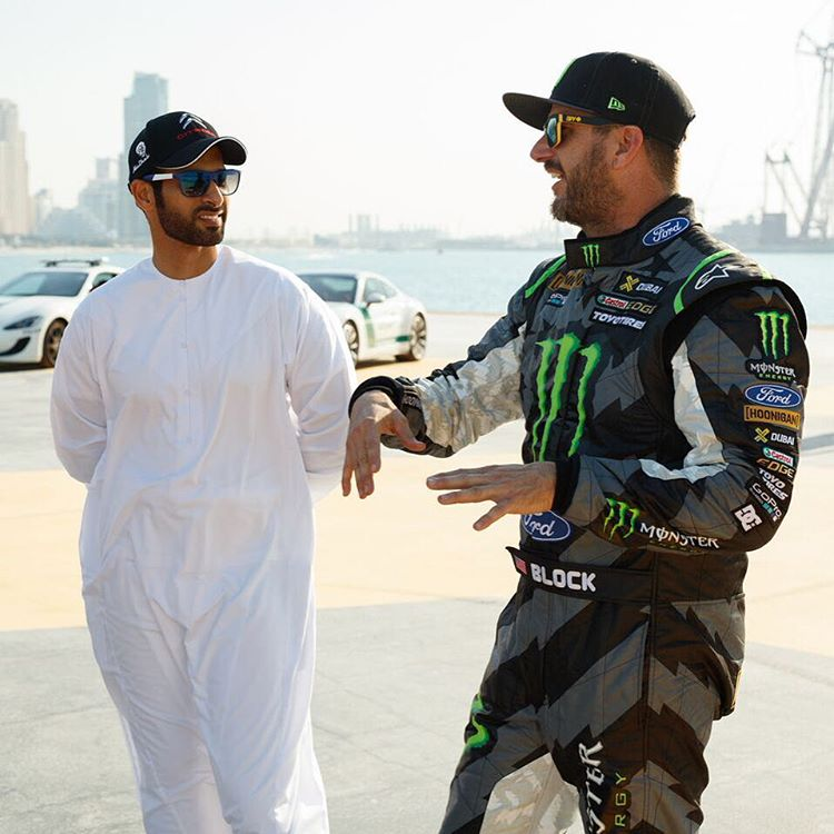 Had a few guests stop by during #GymkhanaEIGHT filming in Dubai, including my buddy and World Rally Championship driver @KhalidbinFaisal. I had some good times back in 2010/11 racing in the WRC with this dude in the Focus and Fiesta WRC cars!...