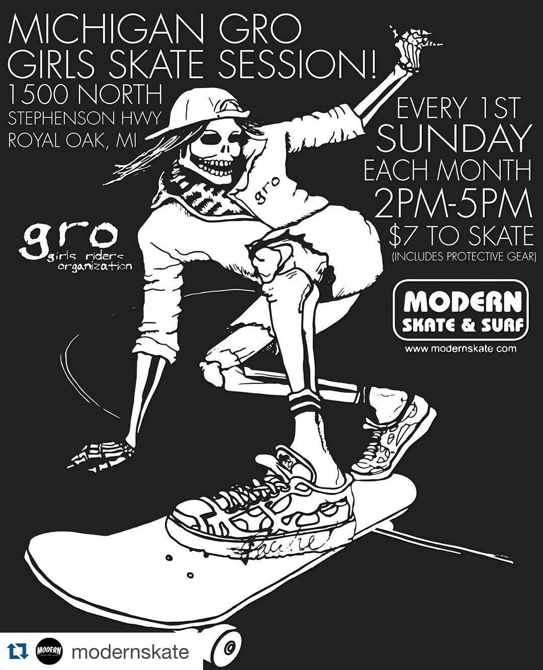 Hey ladies! The @michigangrocrew session is this Sunday @modernskate from 2pm-5pm. Its only $7 for all you girls that shred #GROsession #modernskatepark #ridetrue #ladiesofshred #killinitsoftly  #likeagirl #likeaboss #skatergirl #girlsonboard #gromgirl...
