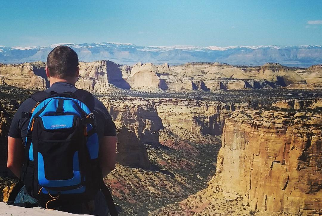 Staring into the canyon near Ghost Rock with the Cascade.  Fun #adventures all over Utah! #getoutside #utah #whatsyour20 #backpacks #coolers #graniterocx #outdoorsrocx
