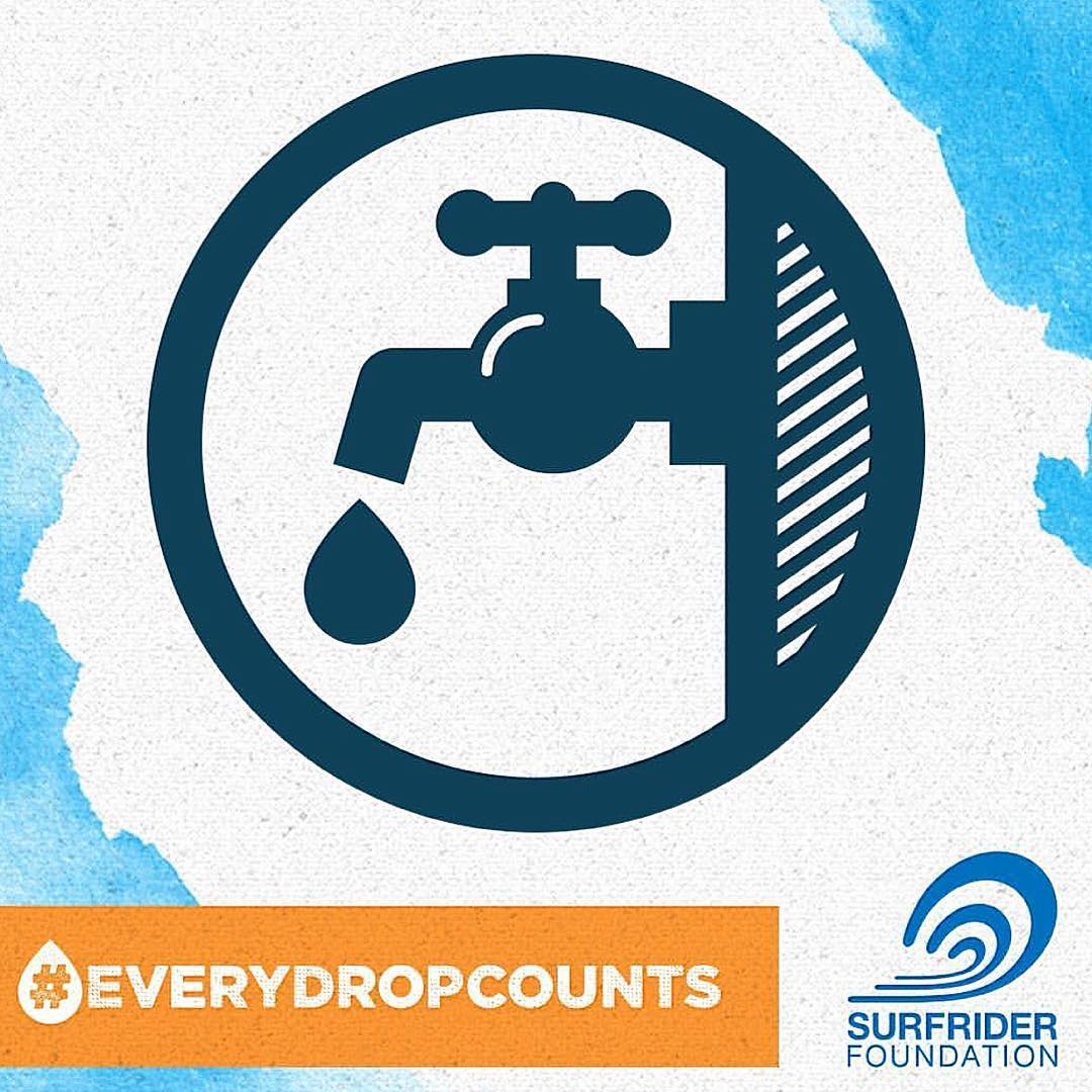 Reduce your water footprint today and take the #everydropcounts pledge through the @surfrider profile link. #worldwatersday