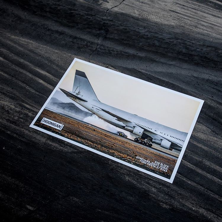 The most iconic moment in #GymkhanaEIGHT, when @kblock43 uses a 747 as a moving obstacle, is now available on a high quality print. It's LIMITED EDITION so once they're gone, they're gone.  #LicenseToHoon ____ Available on [hoonigan.com] Photo by:...
