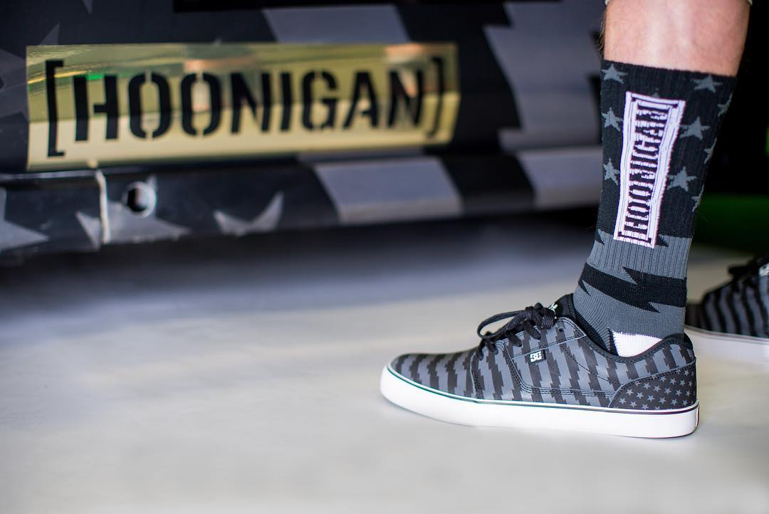 Socks match the whip. The #GymkhanaEIGHT socks, ready for some fancy footwork on the pedals. Get em on #hooniganDOTcom.