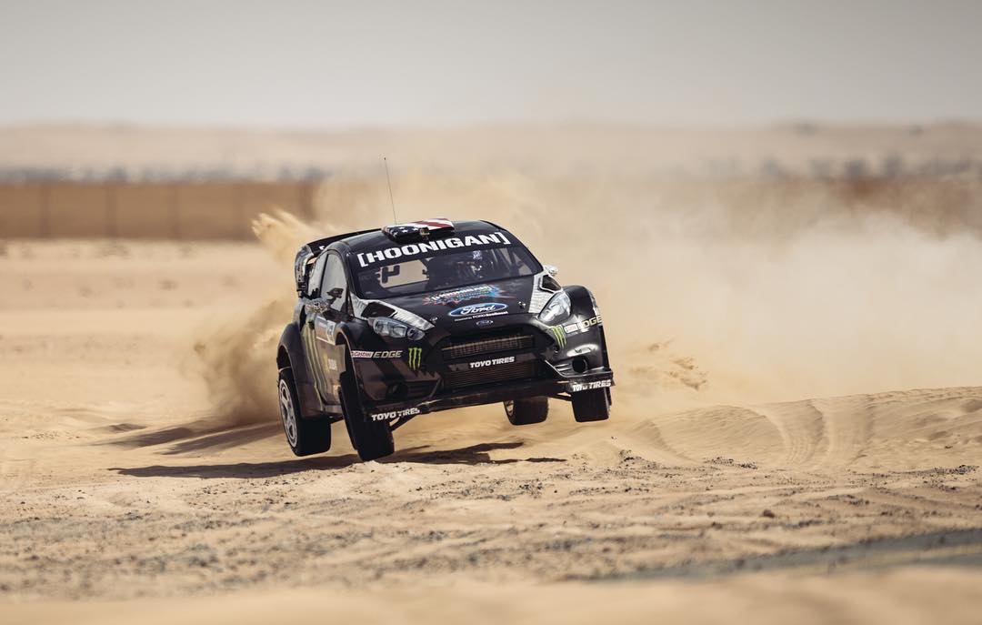 Full hot rod with @kblock43 sideways over some sand features in #GymkhanaEIGHT. ____ Link in bio.
