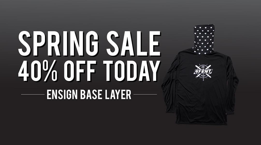 Picture says it all. Introducing our spring flash sale! Every M,T,W we are running a one-day sale on your favorite 4FRNT apparel and accessories. Today = Ensign Base Layer 40 % Off. Shop 4frnt.com | Offer valid while supplies last.
