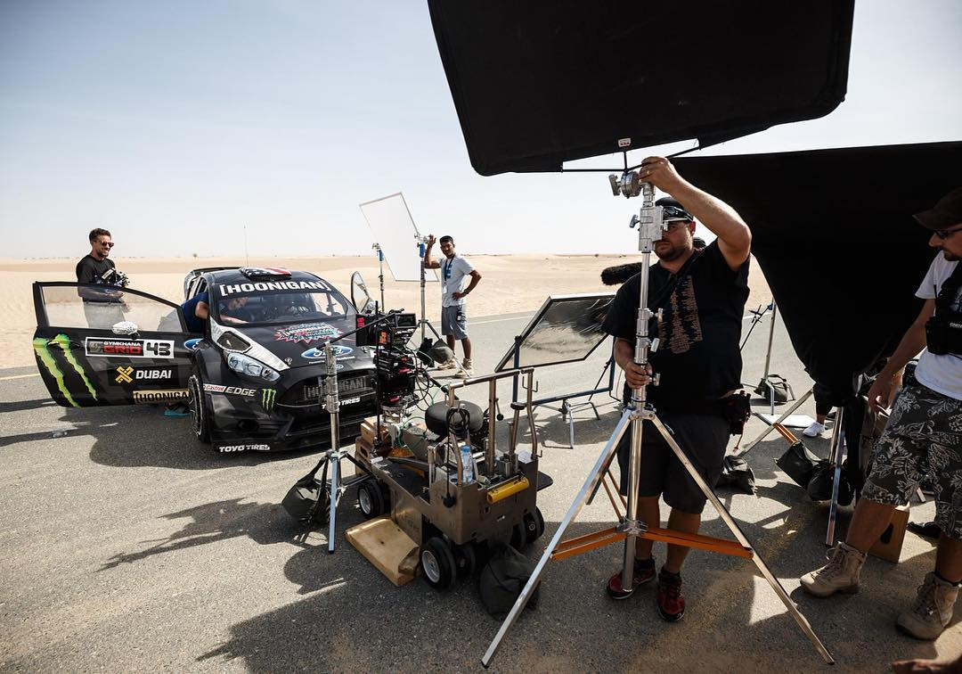 Another behind-the-scenes shot of the Dubai desert intro shoot from #GymkhanaEIGHT. As you can see, it can be a lot of work just to get a few simple intro shots! #FordFiesta #Dubai