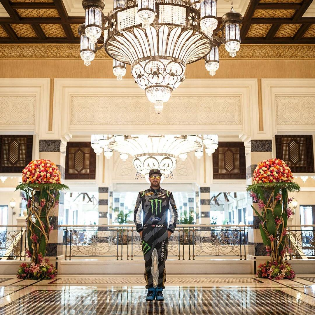 @Larry_Chen_foto shot this flick in the lobby of the hotel I stayed at while we were filming #GymkhanaEIGHT in Dubai. Every morning, I'd pass by in my race suit - and yeah, I got some really funny looks. That is until I drifted around the fountain just...