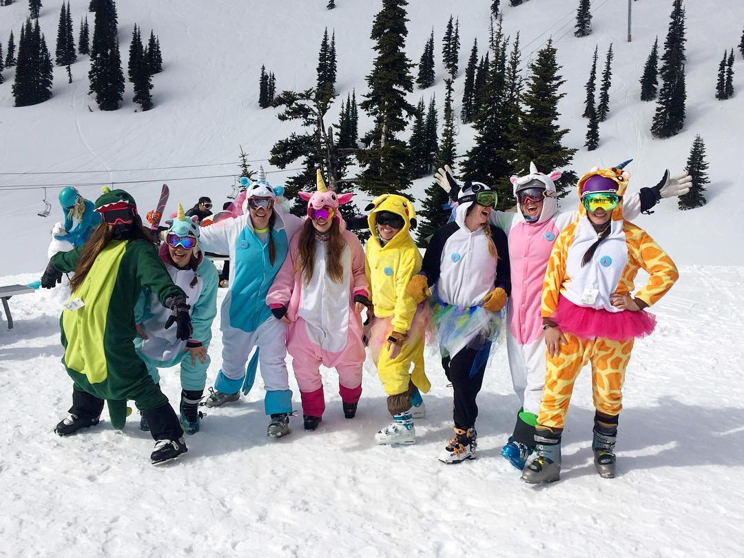 Well that was a blast. Thanks to everyone who came out for #GTGO at @crystalmountain over the weekend. #sofun #happy #girafficornnation #unicorns #ismsj #shejumps #skiing #washington #getoutside #community