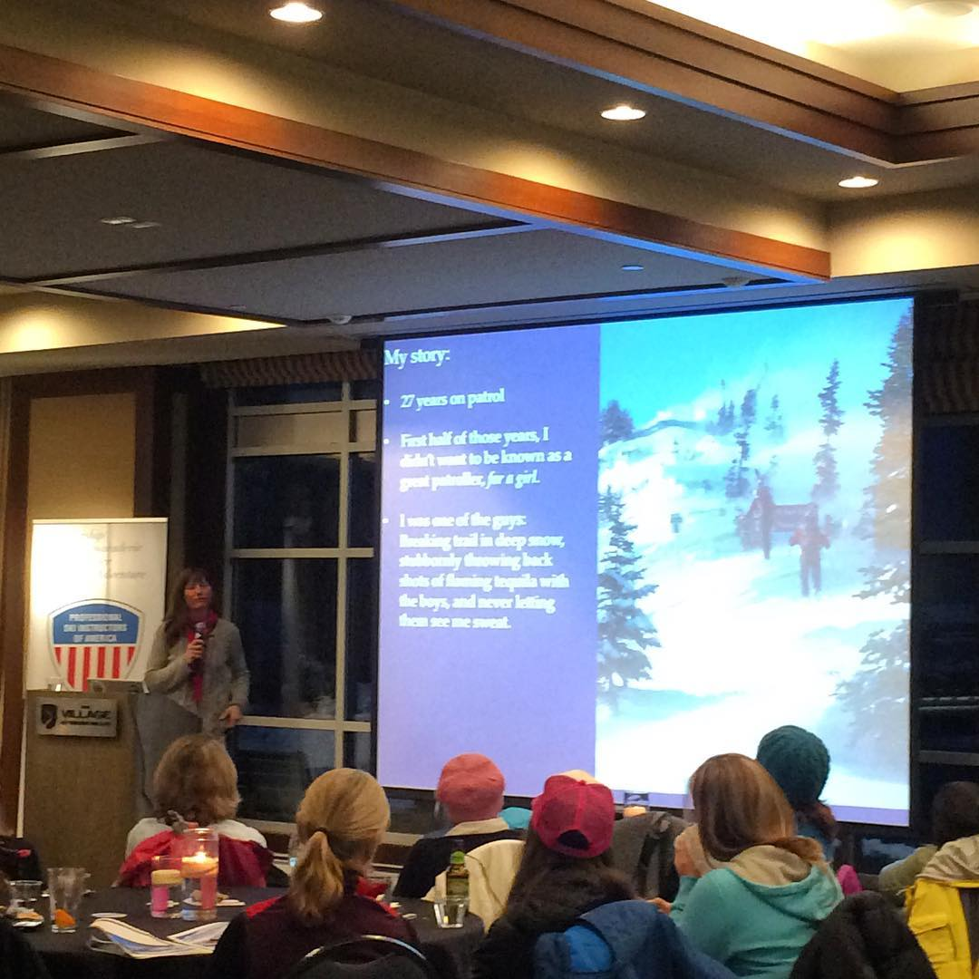 "Kim Kircher, a 27-year vet on @crystalmountain ski patrol presented on the future of women's leadership in the ski industry at the Women's Summit at @squawalpine. ""I didn't want to be known as a good patroller.... For a girl,"" she said. Today she looks..."