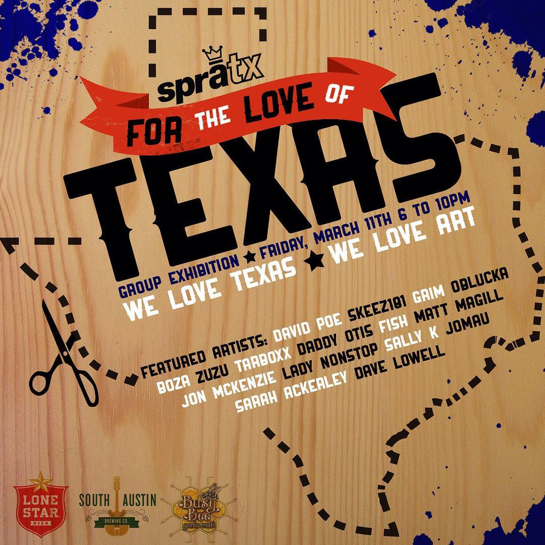 "This Friday from 6-10pm we happily present ""For the Love of Texas"", a group art show featuring 15 visual artists from around TX. Complimentary beverages by @atx_lonestar, #busybeemate, and @southaustinbrewery!! • #spratx #atx #supportlocal #austintx..."