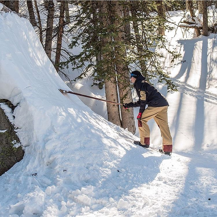 @brodiemitchell is working on his Real Snow Backcountry part in Utah and has been putting the Stealth Shovel to WORK at spots like this natural quarter pipe.