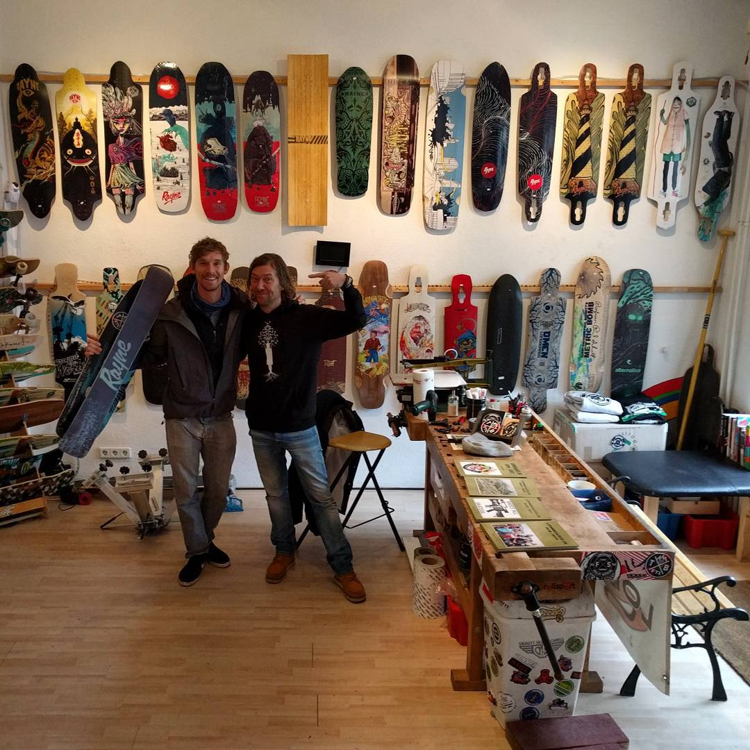@patrickswitzer made a visit see Frankie at @longboardz in Berlin. Check out the top shelf collection including a #rayneTEMPLATE and #raynesnowskate