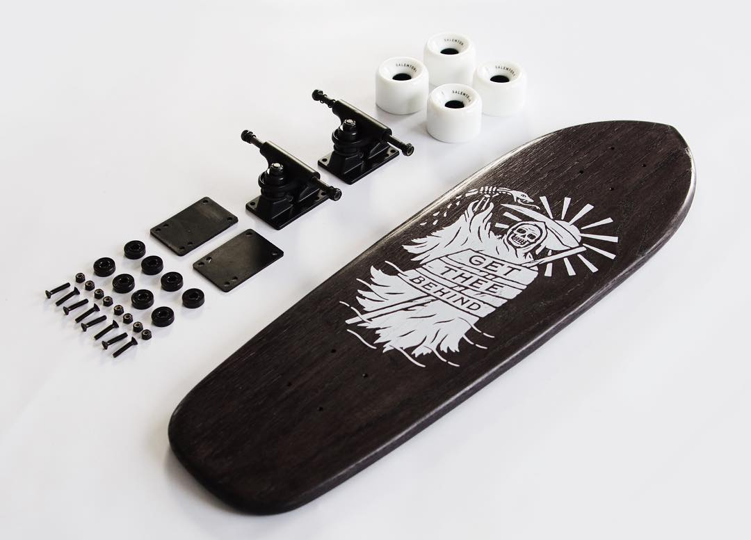 "The @efficacyclothing collab ""Get Thee Behind"" Cruiser stripped down to bare essentials."