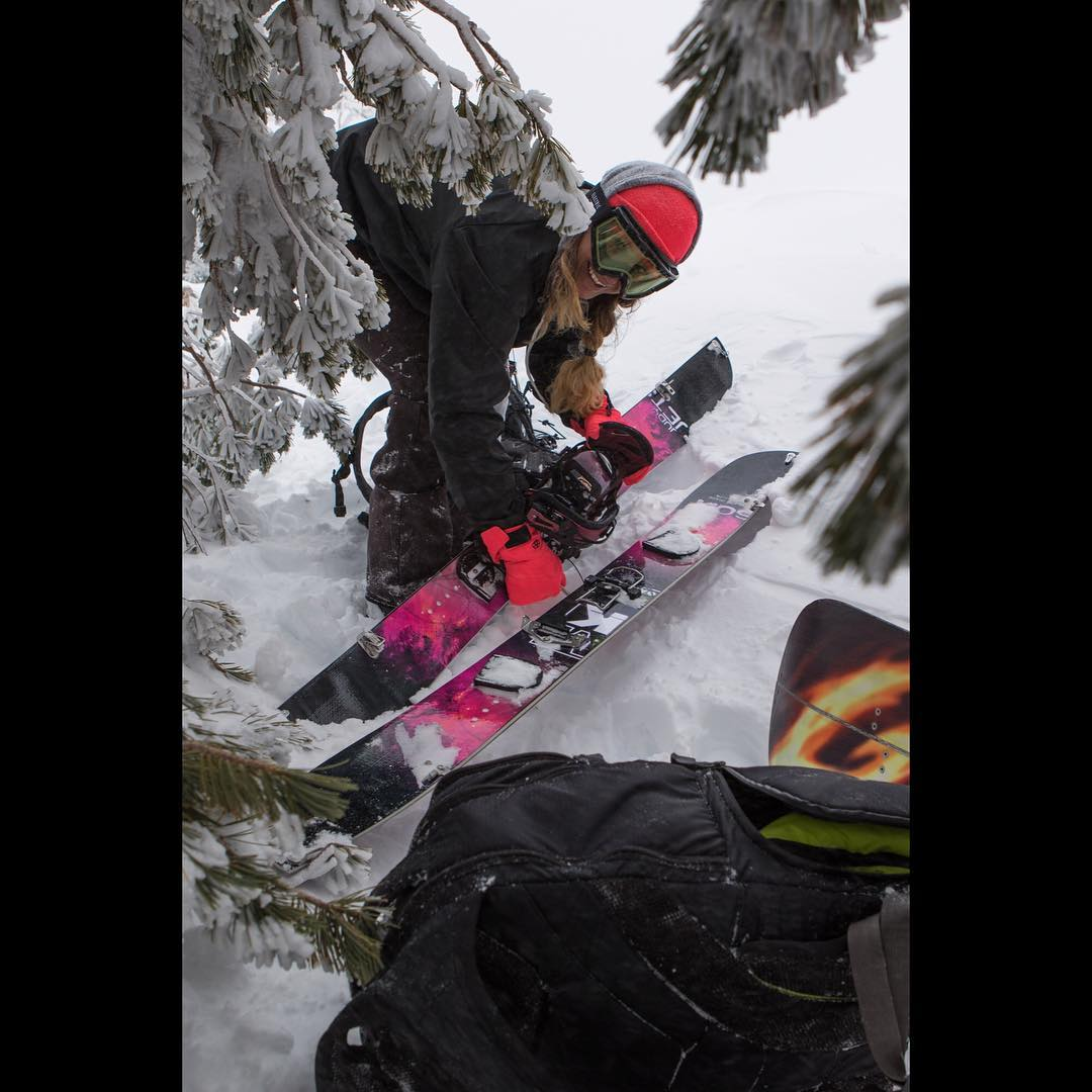 It has been dumping in #Tahoe , @fancyrutherford on her new #JudySplit  #futurefreeride | #weareOK | #handmadeUSA |
