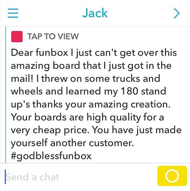 A little #snapchat #love this is why we do what we do. #thanks #thankyou #thankyouskateboarding #skateboarding #longboard #skateshops #skatelife #concretewave #business #skaterowned #funbox #funboxboards #picoftheday #longboarding #skateboard