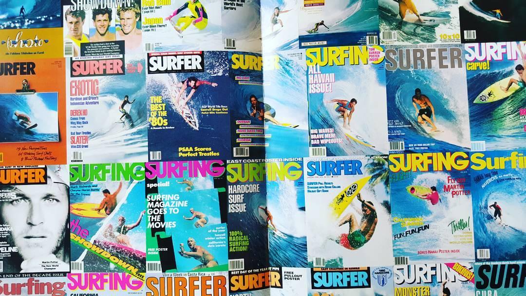 Algunos Cover de @surfer_magazine y @surfingmagazine  Surfers como Tom Curren, Martin Potter, Rob Machado, Derek Ho entre otros hacian historia! Claro, Gotcha presente! #iconsneverdie