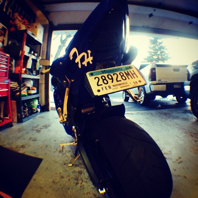 @dubwatkins slappin a frosty die cut on his bike! #minnesota #frostyheadwear