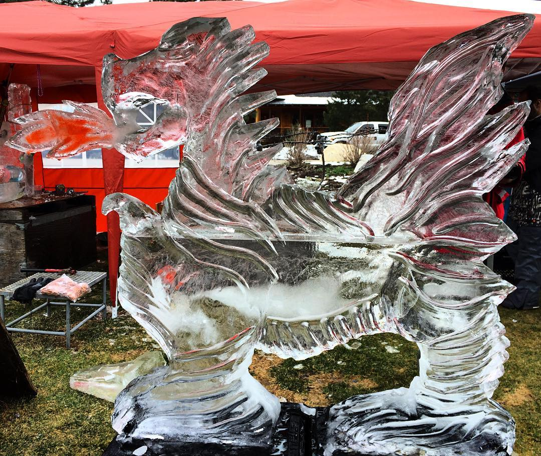 We are blown away by the sculptures this year at #truckeewinenice @truckeeriverwinery! Stop by, grab a glass of wine, a warm panini and enjoy the sculpting!