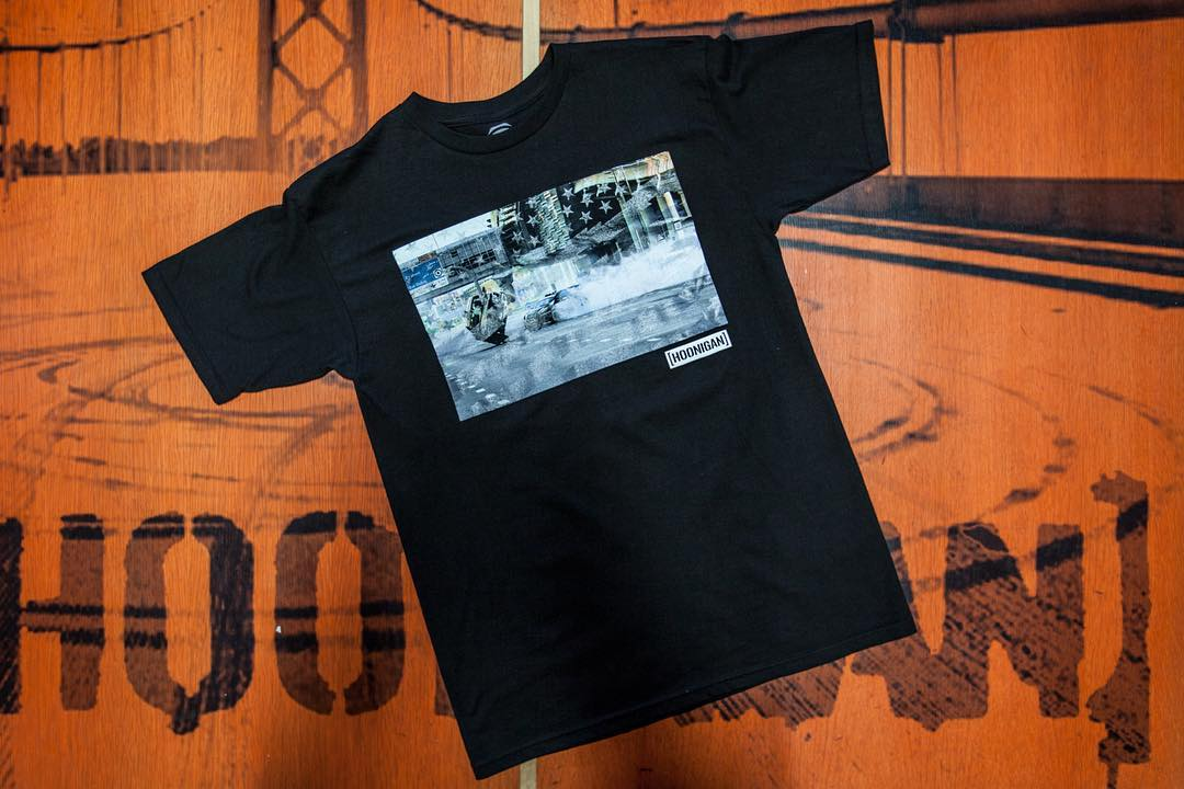 We whipped up a batch of these super rad #gymkhanaEIGHT photo tees with our Stars and Stripes draped over the image. Get yours before it's too late on #hooniganDOTcom.