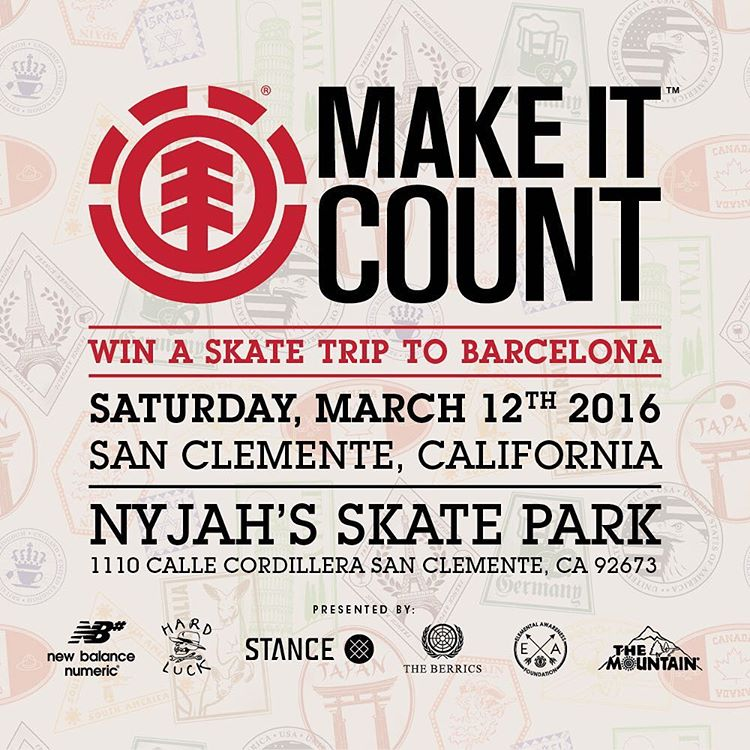 The first #ElementMakeItCount of the season kicks off this Saturday, March 12th, at @nyjah's park in San Clemente, CA. Enter for a chance to win an all expenses paid skate trip to Barcelona! Registration at 1PM, contest at 2PM @elementmakeitcount
