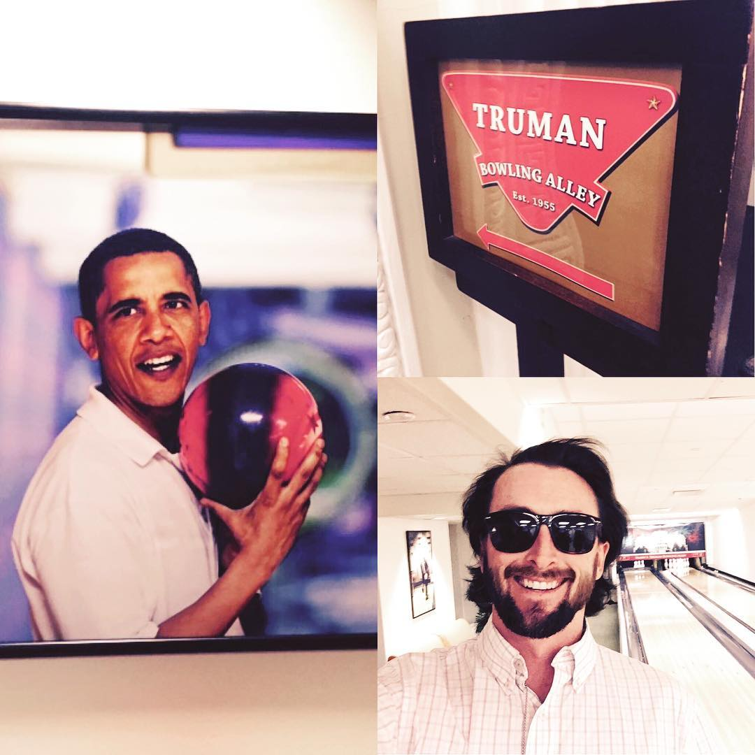 Bowling with the presidents #waveborn #truman #obama #dctech #dc