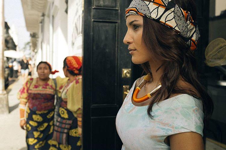 Kelly Johana hanging in panama wearing the #Seeachicama top in marble shot by @nick_lavecchia