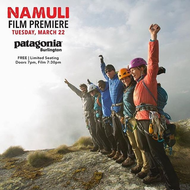 "Join @patagoniabtv for an in-store screening and the Burlington premier of ""Namuli"" on Tuesday, March 22nd with @1percentftp's ambassador @majkaburhardt! #namulifilm #btv  FREE 