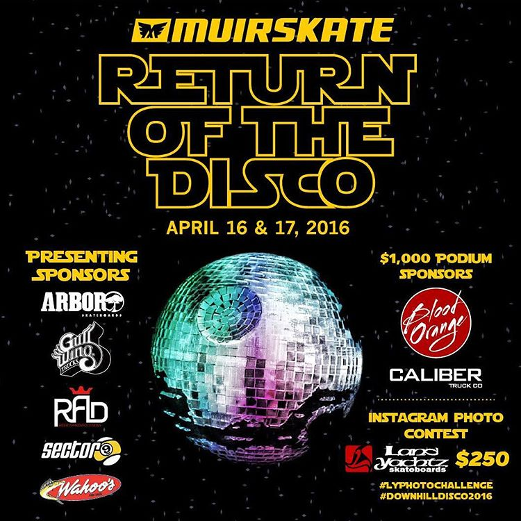 The @muirskate downhill disco is next month on April 16 and 17th! Grab your friends and get down there!  #muirskate #downhilldisco