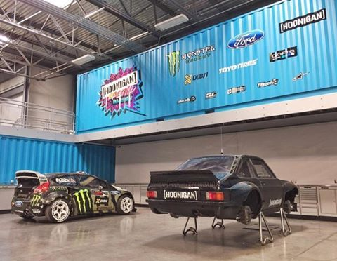 The #GymkhanaEIGHT Ford Fiesta RX43 is in good company at the HRD Headquarters. #GymkhanaEscort