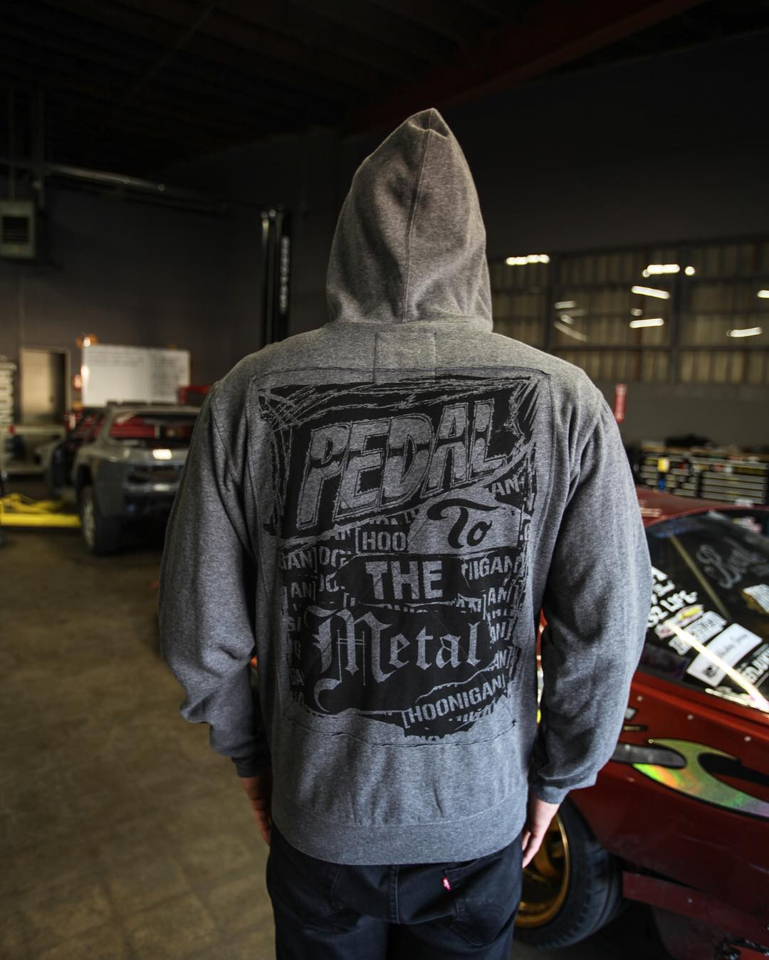 Thrash till you crash. The Pedal To The Metal hoodie features patchwork back design and scatter print C-bar logo up front. ____ [hoonigan.com]
