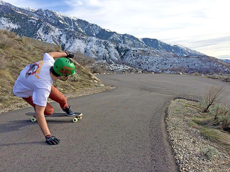 @seanwoolery1 out for a rip on the Keystone in Utah. (Photo by Johnny Savastano) #dbkeystone #dblongboards #downhillskateboarding #longboard #skateutah